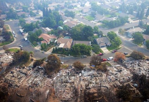 (AP Photo/Michael Burke). Homes destroyed by a wildfire are seen from an aerial view in the Keswick neighborhood of Redding, Calif., Friday, Aug. 10, 2018. Fire crews have made progress against the biggest blaze in California history but officials say ...