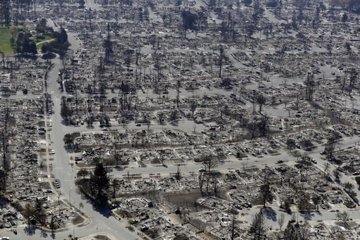 (AP Photo/Marcio Jose Sanchez, File). FILE - In this Oct. 14, 2017, file photo, an aerial view shows the devastation of the Coffey Park neighborhood after a wildfire swept through in Santa Rosa, Calif.  President Donald Trump's tariffs on imported cons...