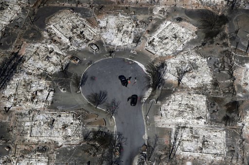 (AP Photo/Marcio Jose Sanchez, File). FILE - In this Oct. 14, 2017 file photo, an aerial view shows the devastation of the Coffey Park neighborhood after the Tubbs wildfire swept through Santa Rosa, Calif.  President Donald Trump's tariffs on imported ...