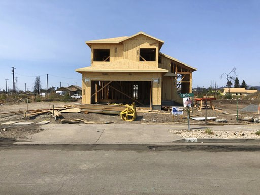 (AP Photo/Jonathan J. Cooper). In this Friday, August 10, 2018, photo the partially rebuilt home of Debbie and Rick Serdin in the Coffey Park neighborhood in Santa Rosa, Calif. The Trump administration's tariffs have raised the cost of imported lumber,...