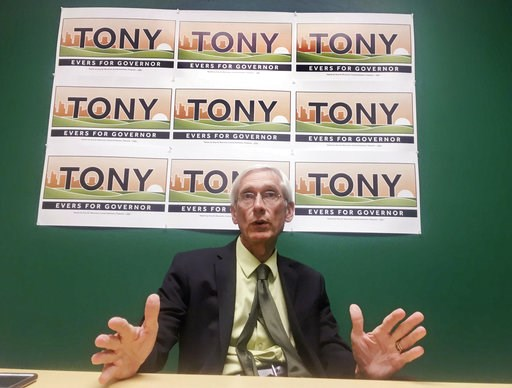 (AP Photo/Scott Bauer, File). FILE - In this Tuesday, Aug. 22, 2017, file photo, Wisconsin state Superintendent Tony Evers speaks in Madison about his lifetime of experience in education, and his three statewide wins as leader of Wisconsin schools, as ...