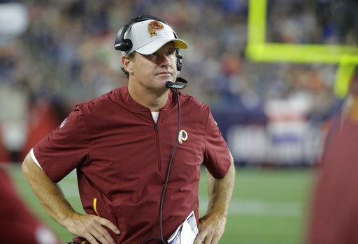 (AP Photo/Steven Senne). Washington Redskins head coach Jay Gruden watches from the sideline during the first half of a preseason NFL football game against the New England Patriots, Thursday, Aug. 9, 2018, in Foxborough, Mass.