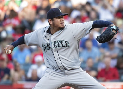 (AP Photo/Kyusung Gong). Seattle Mariners starting pitcher Felix Hernandez delvers a pitch during the first inning of the team's baseball game against the Los Angeles Angels in Anaheim, Calif., Saturday, July 28, 2018.