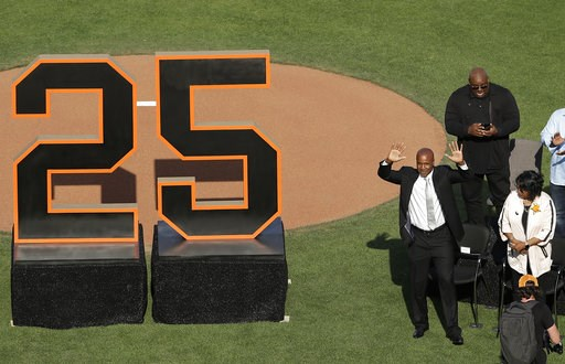 (AP Photo/Jeff Chiu, Pool). Former San Francisco Giants player Barry Bonds waves to fans next to his mother, Pat, as he is honored during a ceremony to retire his jersey number before a baseball game between the Giants and the Pittsburgh Pirates in San...