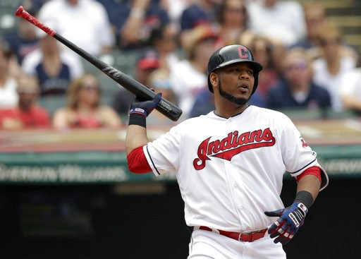 (AP Photo/Tony Dejak). Cleveland Indians' Edwin Encarnacion reacts after striking out against Minnesota Twins starting pitcher Jose Berrios in the fourth inning of a baseball game, Thursday, Aug. 9, 2018, in Cleveland.