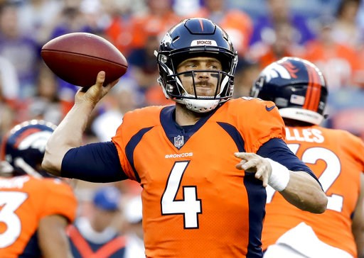 (AP Photo/Jack Dempsey). Denver Broncos quarterback Case Keenum throws a pass against the Minnesota Vikings during the first half of an NFL preseason football game Saturday, Aug. 11, 2018, in Denver.