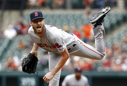 (AP Photo/Patrick Semansky). Boston Red Sox starting pitcher Chris Sale follows through on a pitch to the Baltimore Orioles in the first inning of a baseball game, Sunday, Aug. 12, 2018, in Baltimore.