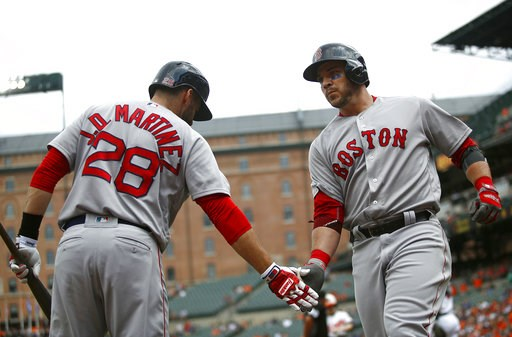 (AP Photo/Patrick Semansky). Boston Red Sox's Steve Pearce, right, greets teammate J.D. Martinez after rounding the bases on a solo home run in the first inning of a baseball game against the Baltimore Orioles, Sunday, Aug. 12, 2018, in Baltimore.