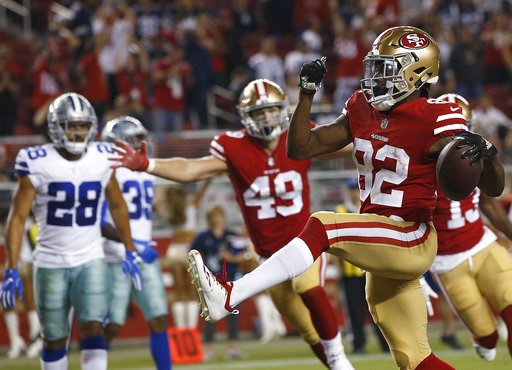 (AP Photo/Josie Lepe). San Francisco 49ers wide receiver Richie James (82) celebrates after scoring a touchdown against the Dallas Cowboys during the second half of an NFL preseason football game in Santa Clara, Calif., Thursday, Aug. 9, 2018.