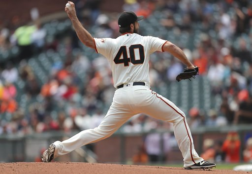 (AP Photo/Scot Tucker). San Francisco Giants pitcher Madison Bumgarner throws to a Houston Astros during the first inning of a baseball game in San Francisco, Tuesday, Aug. 7, 2018.