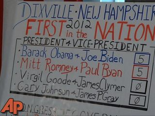 Obama, Romney tie in NH village of Dixville Notch