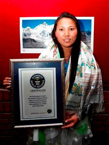 2 Everest climbs put Nepalese woman in record book