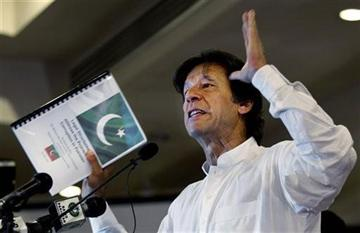 (AP Photo/B.K. Bangash). In this Tuesday, April 9, 2013 photo, Pakistan's former cricket star-turned-politician Imran Khan gestures as he speaks about his party, Pakistan Tehreek-e-Insaf in Islamabad, Pakistan.