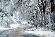 Snow, ice and fallen tree limbs pose hazards on Lime Kiln Lane in Louisville, KY. When roads become hazardous, authorities say you should drive only if it is absolutely necessary.