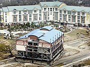 A section of the Grand Casino sits in the road in front of a hotel after Hurricane Katrina made landfall in Gulfport, Mississippi