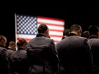 West Point cadets listen to President Barack Obama's Afghanistan policy speech. (©Whit