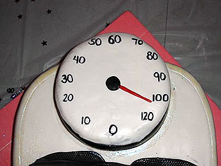 The birthday cake commemorating my 104 pound weight loss at my party last September!