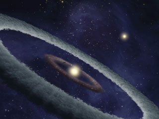 This artist's conception shows a binary-star, or two-star, system, called HD 113766, where astronomers suspect a rocky Earth-like planet is forming around one of the stars. (&amp;copy; NASA / JPL-Caltech)