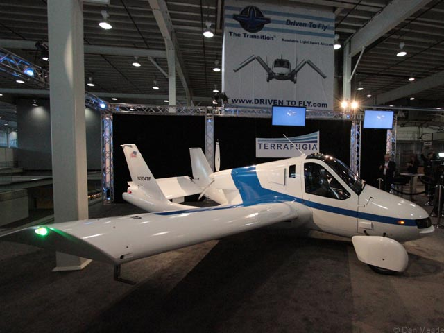 "The Terrafugia ""flying car"" on display at the New York Auto Show. (photos © Dan Meade)"