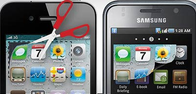 Apple won big in this case by claiming that Samsung mimicked the design of iOS icons and layouts, including a home tray of icons. (Image courtesy of Digital Trends)
