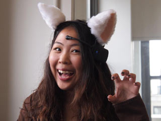 If you're excited, the Necomimi Brainwave Cat Ears will perk and wiggle. (Image courtesy of Digital Trends)