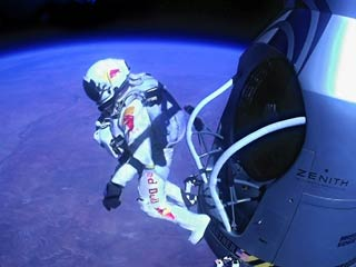 Austrian extreme skydiver Felix Baumgartner 24.2 miles above the Earth. (©Red Bull Media House)