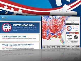 Pictured above: Foursquare's I Voted app, left, and Electionary. (Image courtesy of Digital Trends)
