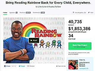 A screenshot of the Reading Rainbow Kickstarter page on May 29, 2014.