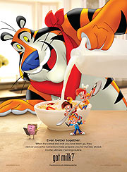 Modern versions of Tony the Tiger and Snap!, Crackle! and Pop!. (&amp;copy;PRNewsFoto/Kellogg Company)