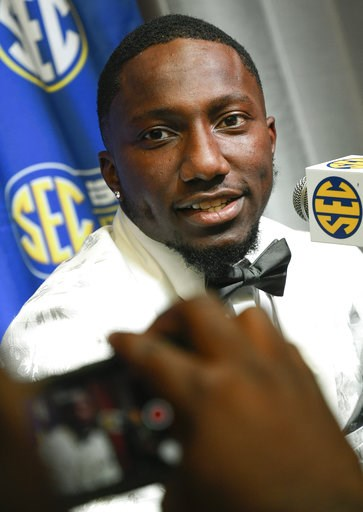 (AP Photo/John Amis). NCAA college football wide receiver Deebo Samuel of South Carolina is interviewed during the Southeastern Conference Media Days at the College Football Hall of Fame in Atlanta, Thursday, July 19, 2018.