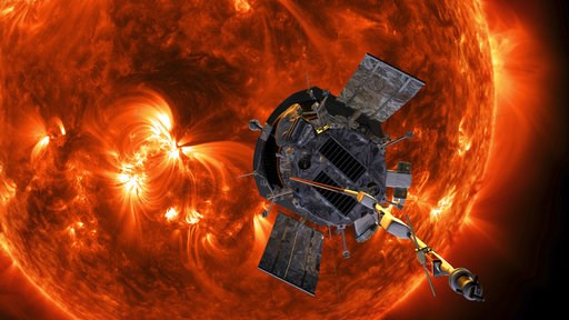 (Steve Gribben/Johns Hopkins APL/NASA via AP). This image made available by NASA shows an artist's rendering of the Parker Solar Probe approaching the Sun. It's designed to take solar punishment like never before, thanks to its revolutionary heat shiel...
