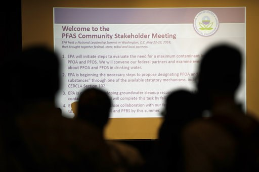 (AP Photo/Matt Rourke). In this July 25, 2018 photo people attend the PFAS Community Stakeholder Meeting, on in Horsham, Pa. In Horsham and surrounding towns in eastern Pennsylvania, and at other sites around the United States, the foams once used rout...