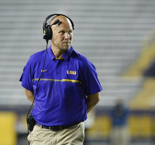 (Hilary Scheinuk/The Advocate via AP, File). FILE - In this April 22, 2017, file photo, then-LSU offensive coordinator Matt Canada coaches in the first half of the NCAA college football team's spring game, in Baton Rouge, La. Placing a priority on play...