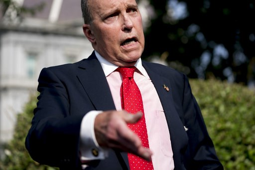 (AP Photo/Andrew Harnik). White House chief economic adviser Larry Kudlow speaks to the media after finishing interviews on the North Lawn of the White House, Thursday, Aug. 16, 2018, in Washington.