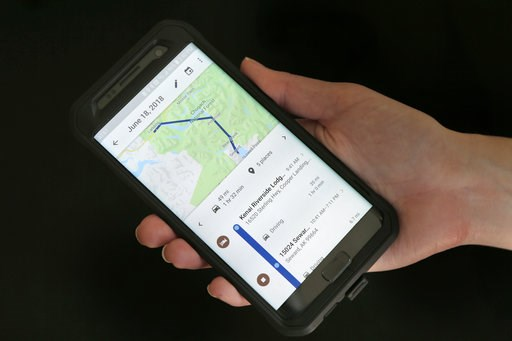 (AP Photo/Seth Wenig). In this Wednesday, Aug. 8, 2018, photo a mobile phone displays a user's travels in New York. Google records your movements even when you explicitly tell it not to. An Associated Press investigation shows that using Google service...