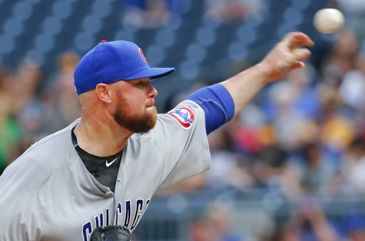(AP Photo/Keith Srakocic). Chicago Cubs starting pitcher Jon Lester throws to a Pittsburgh Pirates batter during the first inning of a baseball game Thursday, Aug. 16, 2018, in Pittsburgh.
