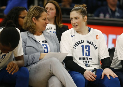 (Richard Tsong-Taatarii/Star Tribune via AP). CORRECTS DATELINE TO MINNEAPOLIS INSTEAD OF ST. PAUL, MINN. - Head coach Cheryl Reeve, left, speaks with Lindsay Whalen Lindsay Whalen following her last regular season game for the Minnesota Lynx Sunday, A...