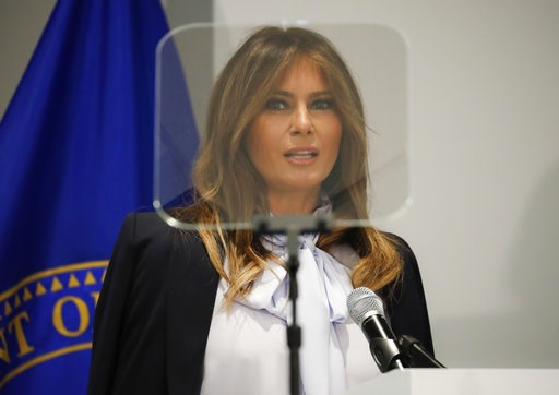 (AP Photo/Pablo Martinez Monsivais). First lady Melania Trump speaks as she attends the 6th Federal Partners in Bullying Prevention (FPBP) Summit at Health and Human Service in Rockville, Md., Monday, Aug. 20, 2018.
