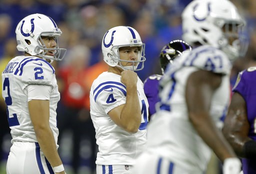 (AP Photo/Darron Cummings). Indianapolis Colts kicker Adam Vinatieri (4) reacts to making a field goal against the Baltimore Ravens in the first half of an NFL preseason football game in Indianapolis, Monday, Aug. 20, 2018.