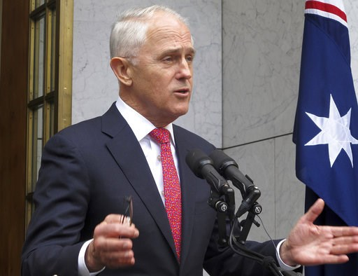 (AP Photo/Rod McGuirk). Australian Prime Minister Malcolm Turnbull address reporters at Parliament House in Canberra, Australia, Tuesday, Aug. 21, 2018. Turnbull called on his government to unite behind him after he survived a leadership challenge, def...