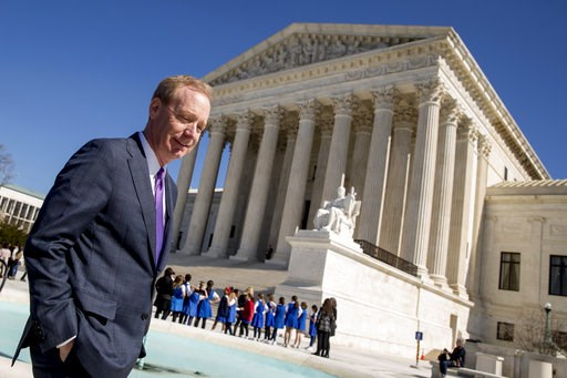 (AP Photo/Andrew Harnik, File). FILE- In this Feb. 27, 2018, file photo Microsoft President and Chief Legal Officer Brad Smith, left, leaves the Supreme Court in Washington. Microsoft stands virtually alone among tech companies with its aggressive appr...