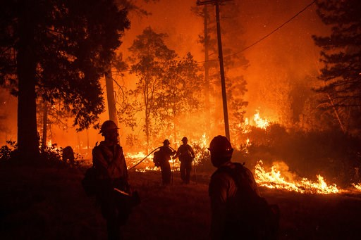 (AP Photo/Noah Berger). Firefighters monitor a backfire while battling the Delta Fire in the Shasta-Trinity National Forest, Calif., on Thursday, Sept. 6, 2018. California is taking a financial wallop from unrelenting wildfires that have drained its fi...