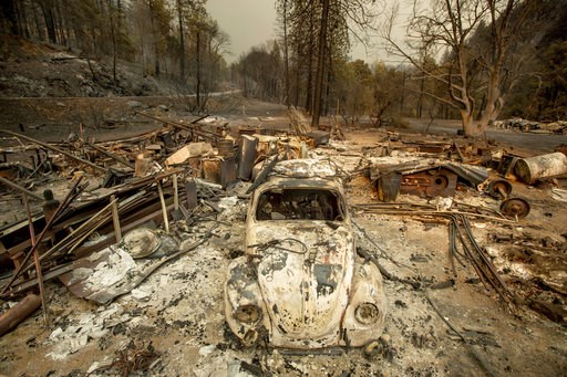 (AP Photo/Noah Berger). A scorched VW Beetle rests in a clearing after the Delta Fire burned through the Lamoine community in the Shasta-Trinity National Forest, Calif., on Thursday, Sept. 6, 2018.