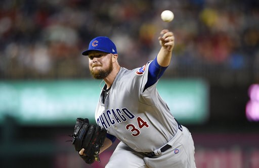 (AP Photo/Nick Wass). Chicago Cubs starting pitcher Jon Lester delivers a pitch during the first inning of the team's baseball game against the Washington Nationals, Friday, Sept. 7, 2018, in Washington.