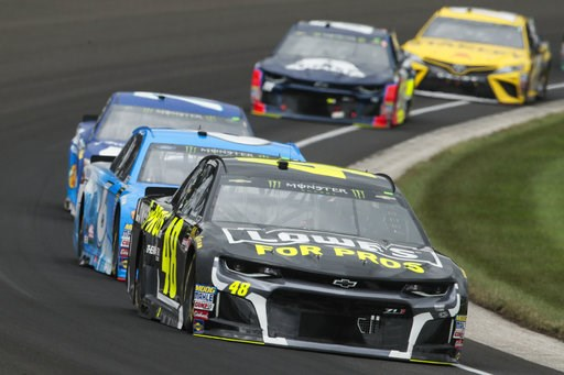 (AP Photo/AJ Mast). NASCAR Cup Series driver Jimmie Johnson (48) drives through the first turn during the NASCAR Brickyard 400 auto race at Indianapolis Motor Speedway, in Indianapolis Monday, Sept. 10, 2018.