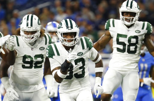 (AP Photo/Rick Osentoski). New York Jets defensive back Jamal Adams (33) celebrates a stop against the Detroit Lions in the first half of an NFL football game in Detroit, Monday, Sept. 10, 2018.