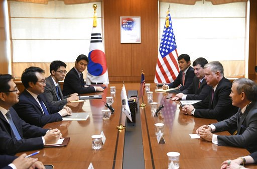 (Jung Yeon-je/Pool Photo via AP). U.S. special envoy for North Korea Stephen Biegun, second from right, holds a talk with South Korea's special representative for Korean Peninsula Peace and Security Affairs Lee Do-hoon, second from left, during their m...