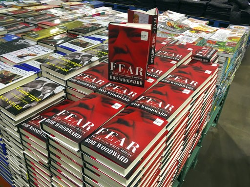 """(AP Photo/Pablo Martinez Monsivais). Copies of Bob Woodward's """"Fear"""" are seen for sale at Costco, Wednesday, Sept. 11, 2018 in Arlington, Va. It's not clear whether President Donald Trump has much to fear from """"Fear"""" itself. But the book of that name h..."""