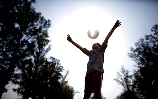 "(AP Photo/Natacha Pisarenko). In this Sept. 8, 2018 photo, Candelaria Cabrera plays with a soccer ball in Chabaz, Argentina. ""Cande,"" as she is known by friends and family, is the only girl playing in a children's soccer league in the southern part of ..."