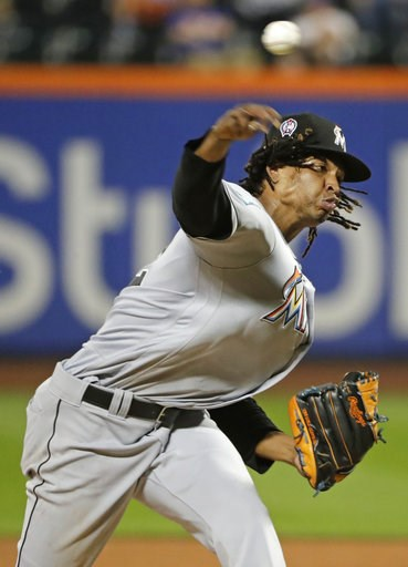(AP Photo/Frank Franklin II). Miami Marlins' Jose Urena delivers a pitch during the fourth inning of a baseball game against the New York Mets Tuesday, Sept. 11, 2018, in New York.